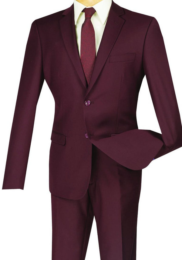 Burgundy Ultra Slim Fit 2 Piece Business Suit - SUITS FOR MENS