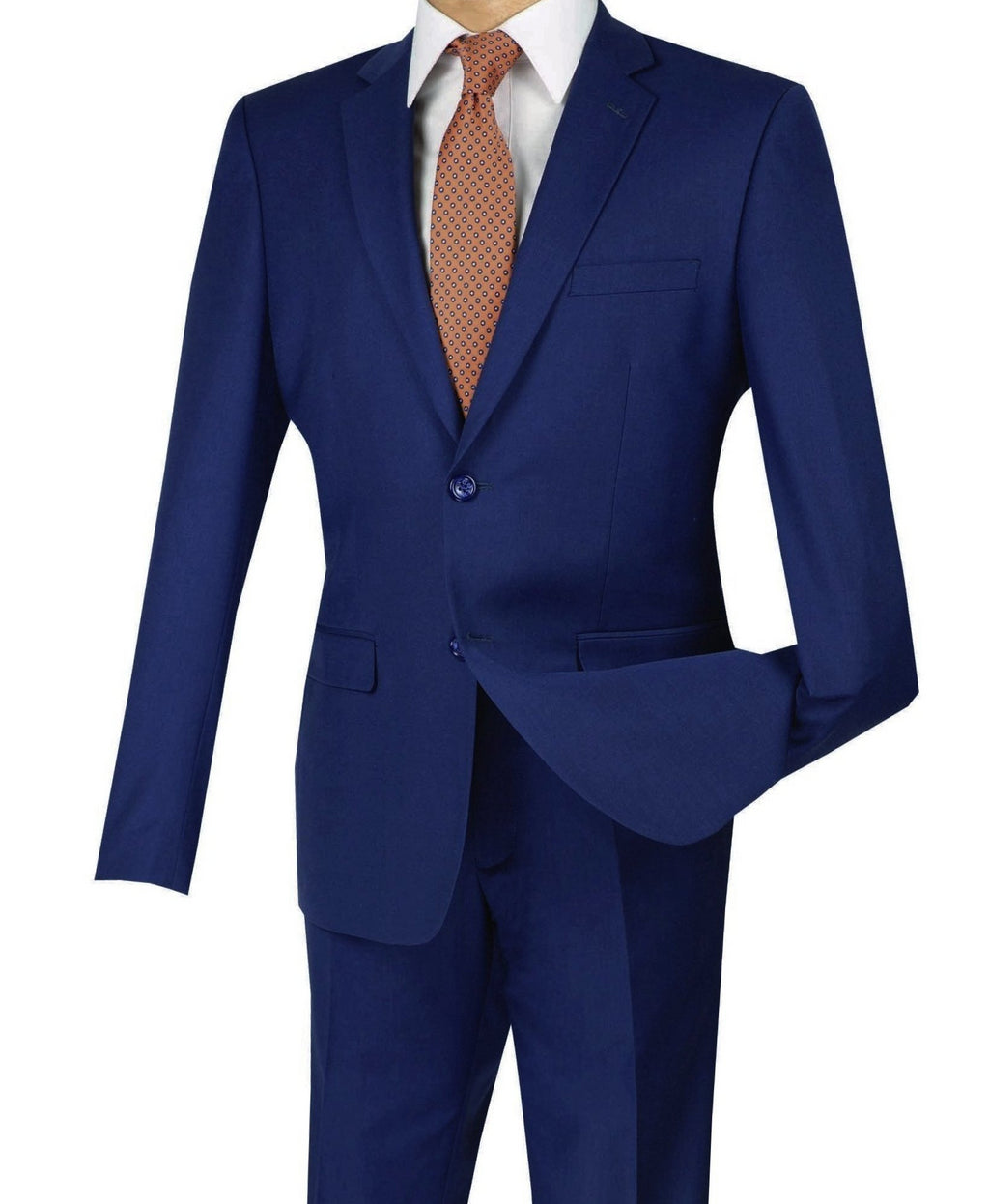 Solid Indigo Ultra Slim Fit Men's Business Suit - SUITS OUTLETS