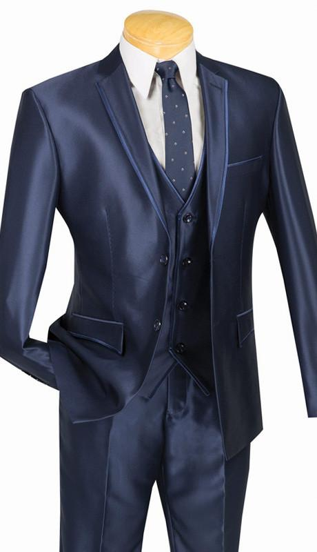 Shiny Sharkskin 3 Piece Suit Ultra Slim Fit With Vest Navy - SUITS FOR MENS