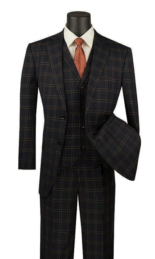 Manarola Collection - Regular Fit Glen Plaid Suit 3 Piece in Black - SUITS FOR MENS
