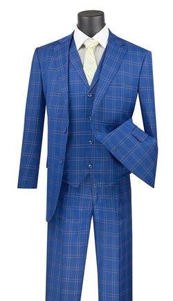 Manarola Collection - Regular Fit Glen Plaid Suit 3 Piece in Blue - SUITS FOR MENS