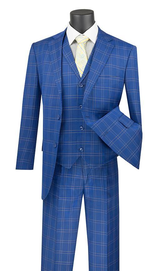Manarola Collection - Regular Fit Glen Plaid Suit 3 Piece in Blue
