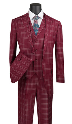 Manarola Collection - Regular Fit Glen Plaid Suit 3 Piece in Burgundy - SUITS FOR MENS