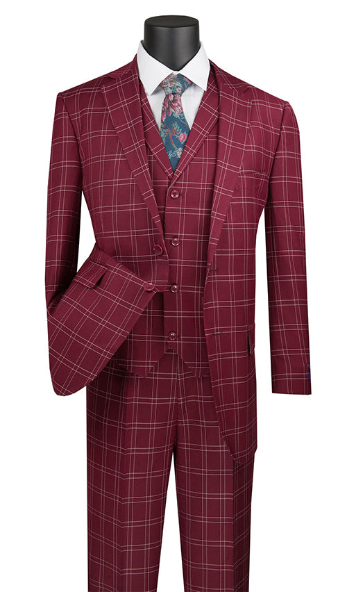 Manarola Collection - Regular Fit Glen Plaid Suit 3 Piece in Burgundy