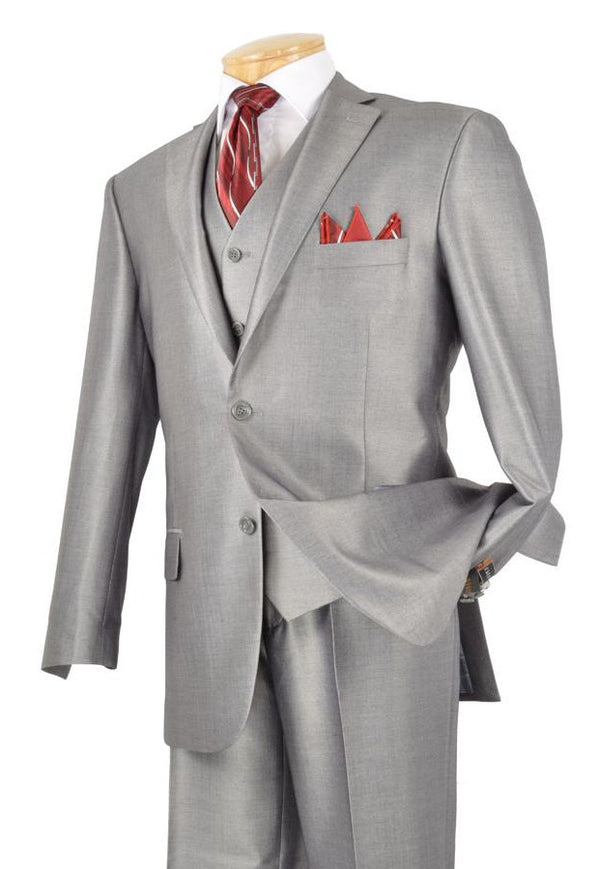 Classic Men's Suit With Vest 3 Piece 2 Buttons Gray - SUITS OUTLETS