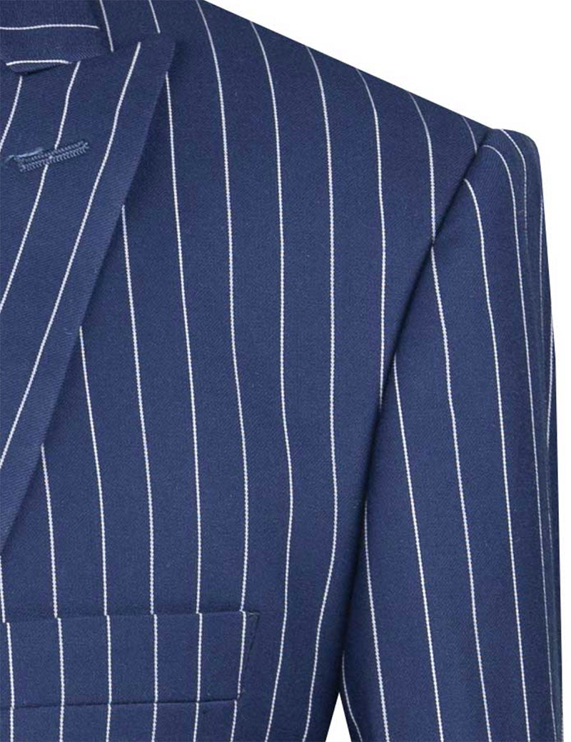 Odyssey Collection - Blue Regular Fit 3 Piece Suit 2 Button Gangster Stripe