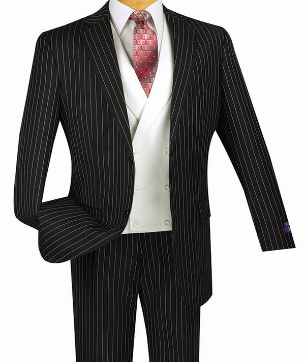 Helios Collection - Regular Fit 3 Piece Suit 2 Button Banker Stripe in Black - SUITS FOR MENS