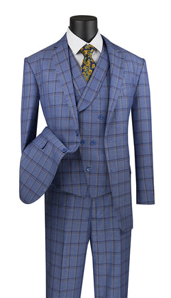 Atrani Collection - Regular Fit Windowpane Suit 3 Piece in Blue - SUITS FOR MENS
