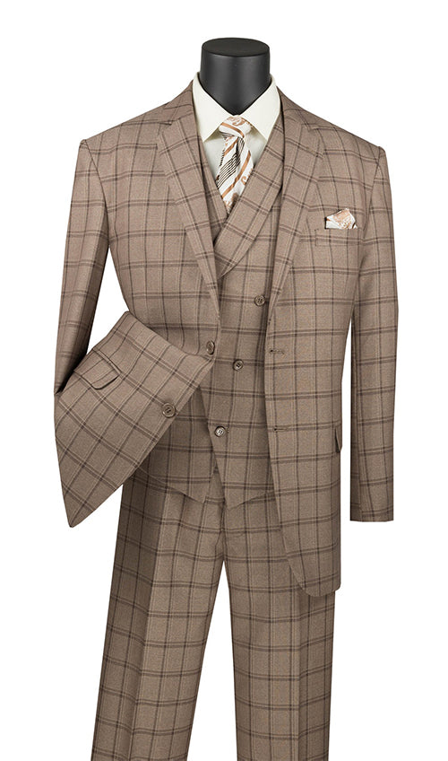 Atrani Collection - Regular Fit Windowpane Suit 3 Piece in Khaki - SUITS FOR MENS