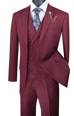 Burgundy Regular Fit Glen Plaid 2 Button 3 Piece Suit - SUITS FOR MENS