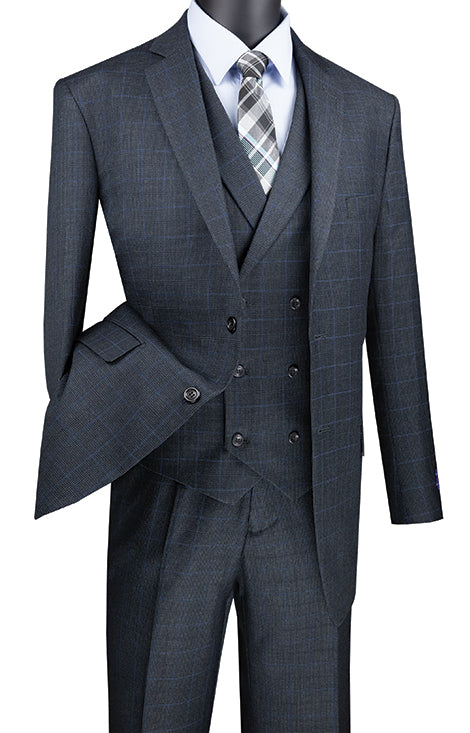 Charcoal Regular Fit Glen Plaid 2 Button 3 Piece Suit - SUITS FOR MENS