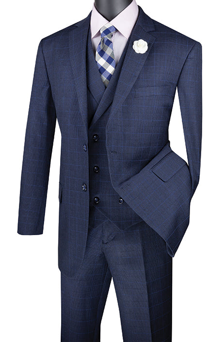 Navy Regular Fit Glen Plaid 2 Button 3 Piece Suit - SUITS FOR MENS