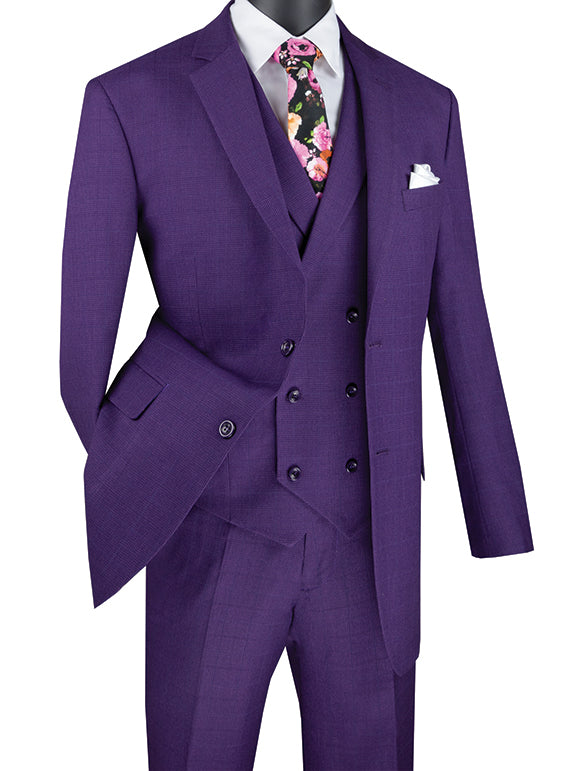 Purple Regular Fit Glen Plaid 2 Button 3 Piece Suit - SUITS FOR MENS