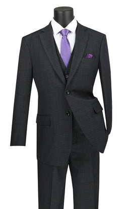 Olympia Collection - Glen Plaid Regular Fit Suit 3 Piece Black - SUITS FOR MENS