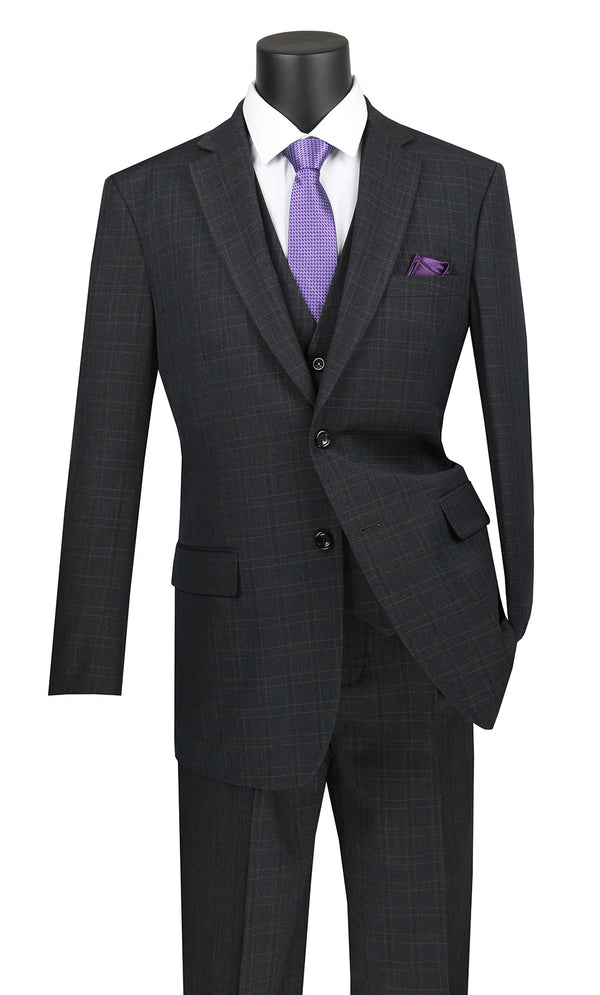 Olympia Collection - Glen Plaid Regular Fit Suit 3 Pieces Black - Mens Suits