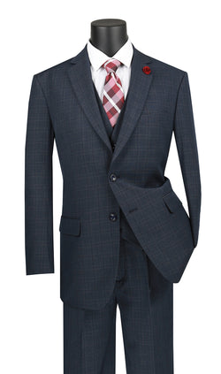 Olympia Collection - Glen Plaid Regular Fit Suit 3 Piece Navy Blue - SUITS FOR MENS