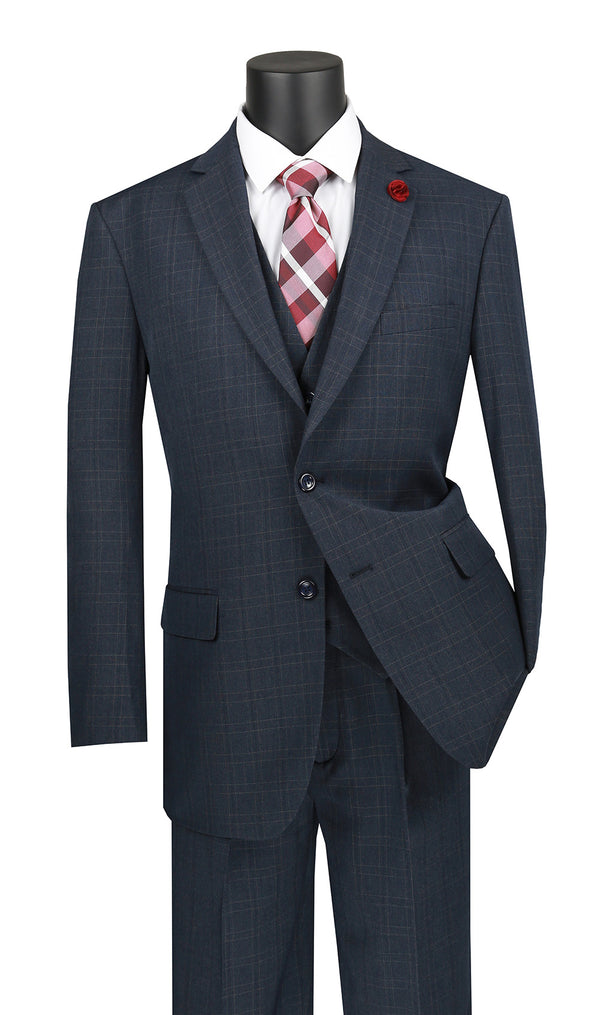 Olympia Collection - Glen Plaid Regular Fit Suit 3 Pieces Blue - Mens Suits