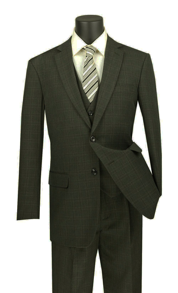 Olympia Collection - Glen Plaid Regular Fit Suit 3 Piece Olive