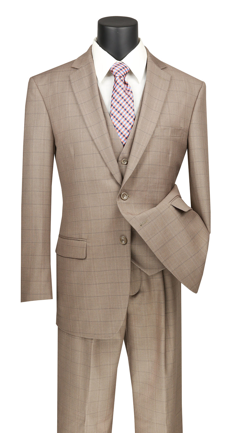 Olympia Collection - Glen Plaid Regular Fit Suit 3 Piece Tan - SUITS FOR MENS