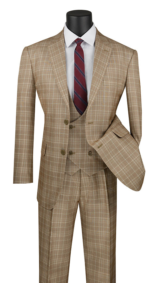 Renaissance Collection - Regular Fit 3 Piece Suit Camel - SUITS FOR MENS