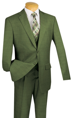 Regular Fit Suit Windowpane 3 Piece in Olive - SUITS FOR MENS