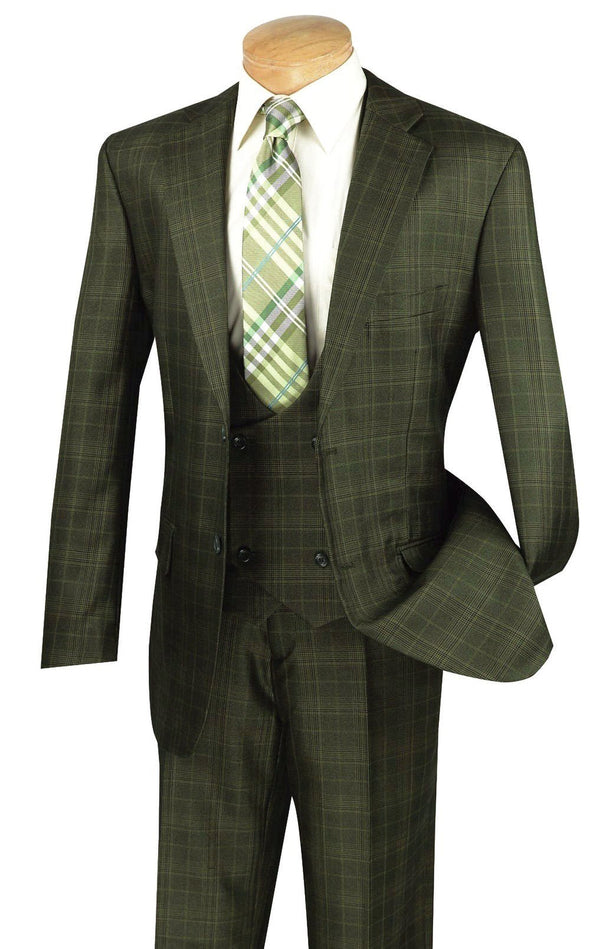 Renaissance Collection - Regular Fit 3 Piece Suit Olive - SUITS FOR MENS