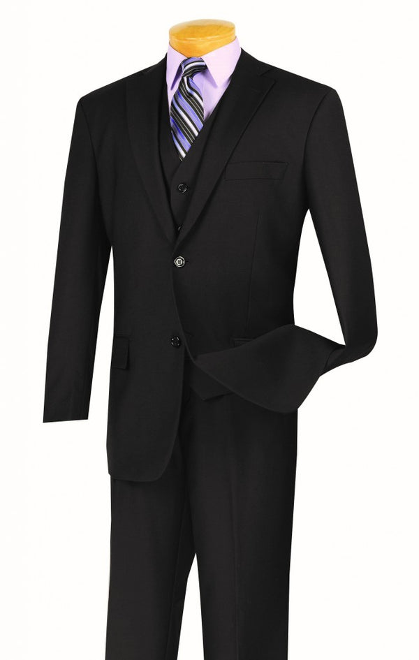 Morgan Collection - Classic Fit Men's Suit With Vest 2 Buttons Pure Black Solid - SUITS OUTLETS
