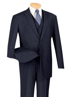 Morgan Collection - Regular Fit 3 Piece Suit 2 Button Navy