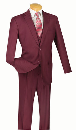 Classic Fit Suits Men's Burgundy Suit Tone On Tone Stripe With Vest 2 Buttons - SUITS OUTLETS