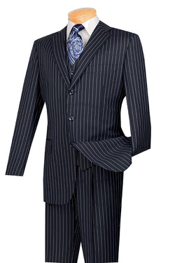 Portofino Collection - Regular Fit 3 Piece 3 Button Banker Stripe in Blue - SUITS FOR MENS