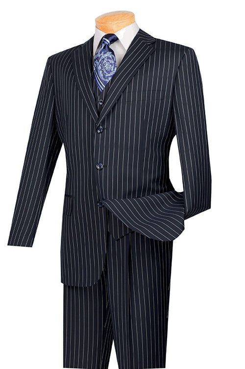 Portofino Collection - Regular Fit 3 Piece 3 Button Banker Stripe in Blue