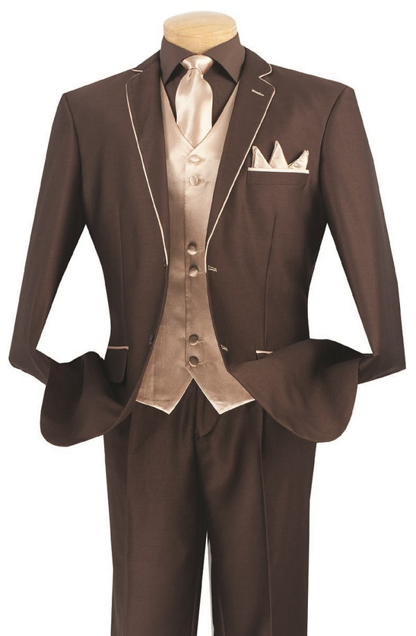 Michelangelo Collection - Regular Fit 5 Piece Suit in Brown with Tie and Handkerchief - SUITS FOR MENS
