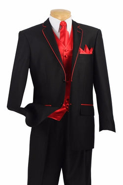 Michelangelo Collection - Regular Fit 5 Piece Suit in Black with Tie and Handkerchief - SUITS FOR MENS