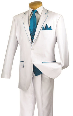 Michelangelo Collection - Regular Fit 5 Piece Suit in White with Tie and Handkerchief - SUITS FOR MENS