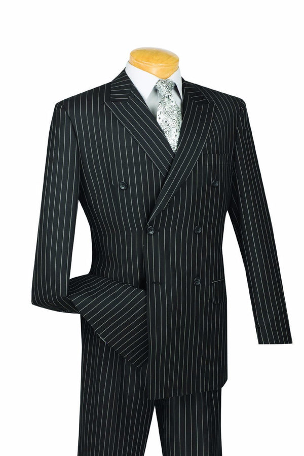 Rockefeller Collection - Double Breasted Banker Stripe Black Classic Fit - SUITS OUTLETS