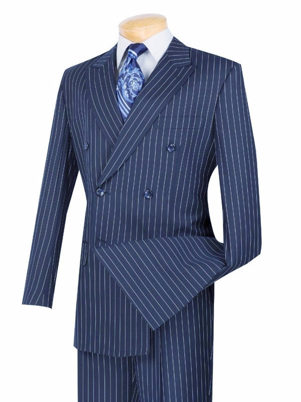 Rockefeller Collection - Double Breasted Banker Stripe Dark Blue Classic Fit - SUITS OUTLETS