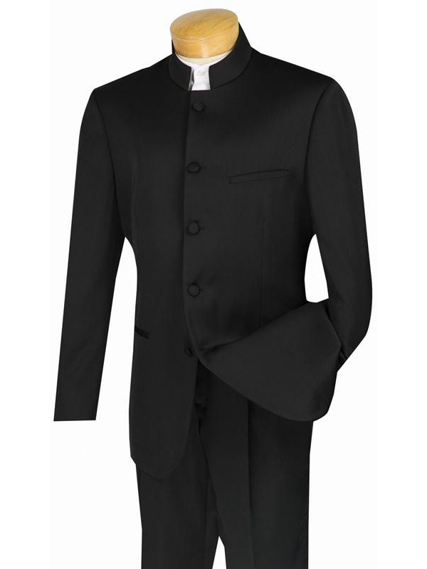 Master Collection - Regular Fit Men's 2 Piece Banded Collar Tuxedo Black