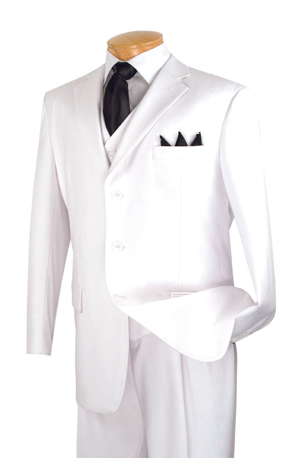 Mont Blanc Collection - Regular Fit Suit 3 Button 3 Piece in White - SUITS FOR MENS