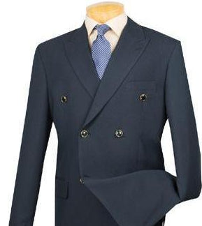 Men's Regular Fit Double Breasted Blazer in Navy - SUITS FOR MENS