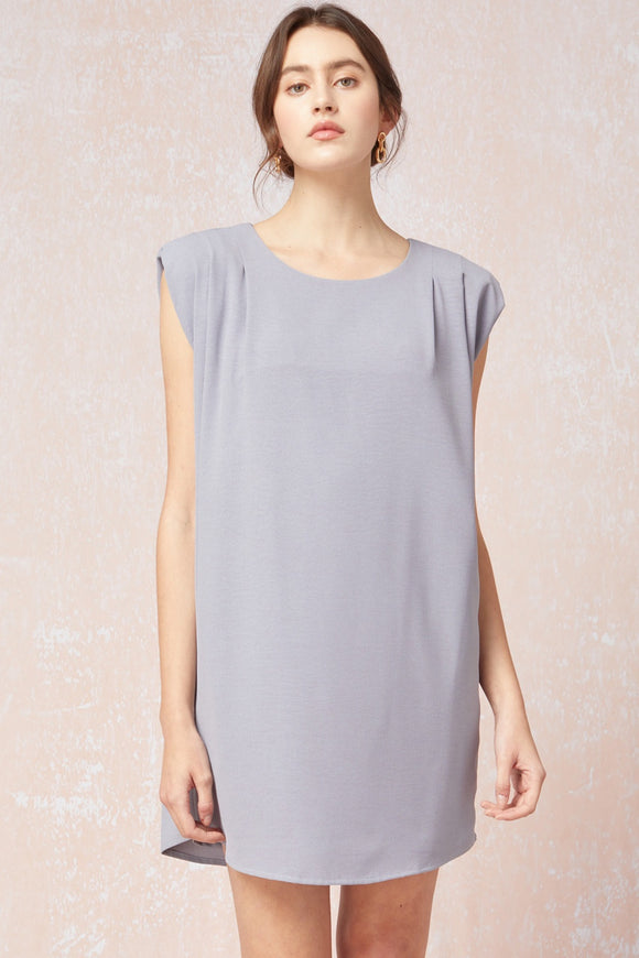 Solid Round Neck Sleeveless Dress