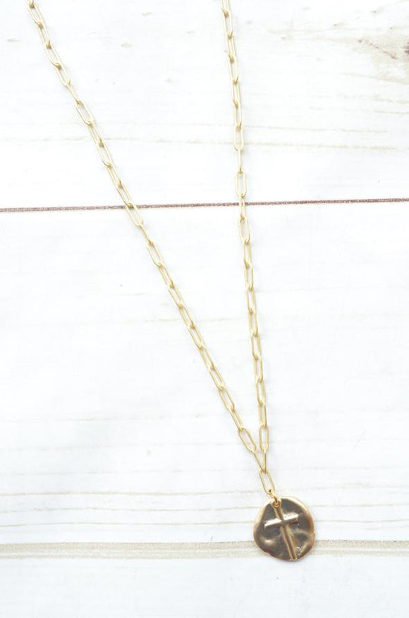Paperclip with Cross Coin Necklace