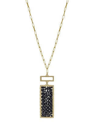 Rectangle Crystal w Gold Chain 32