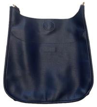 Navy Faux Leather Messenger  Bag