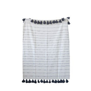 Cotton Woven Striped Throw w/ Tassels,