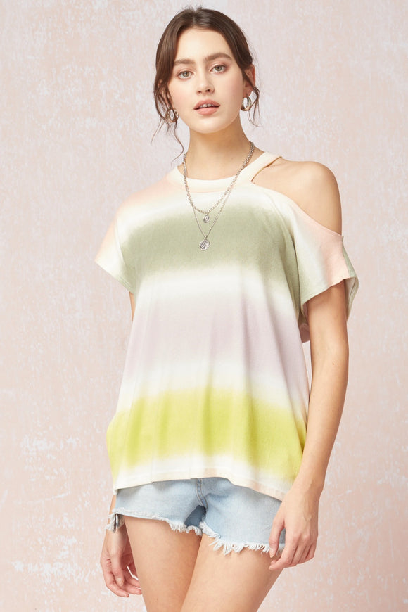 Abstract Stripe Print Short Sleeve Top