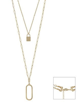 Gold Two Layer Locket & Open Oval 18 Necklace