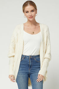 Solid Cable Knit Cardigan