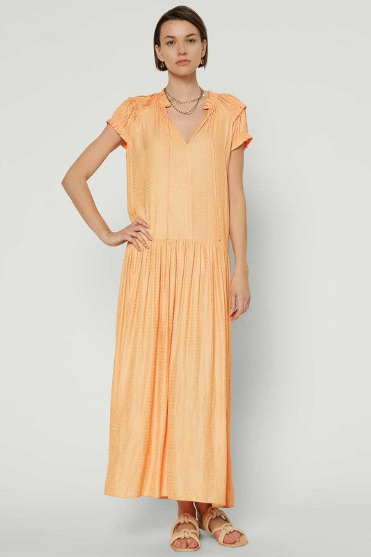 Dropped Waist Long Dress w Ruffled Split Neck
