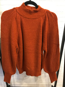 Rust Solid Ribbed Sweater