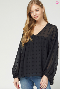 Dotted-SwissV-neck Babydoll Top